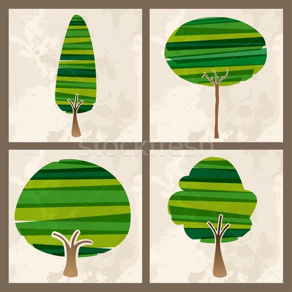 Green tree set Stock photo © cienpies