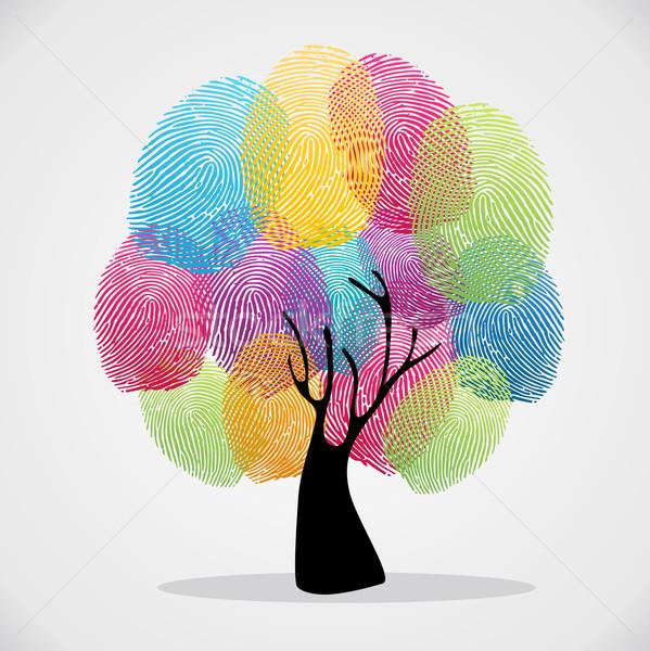 Finger prints diversity tree  Stock photo © cienpies