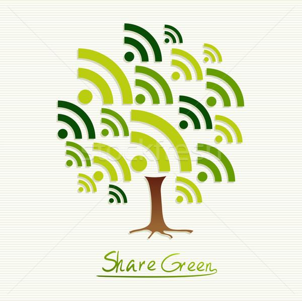 Zielone ikona drzewo zapisać ziemi pomysł Zdjęcia stock © cienpies
