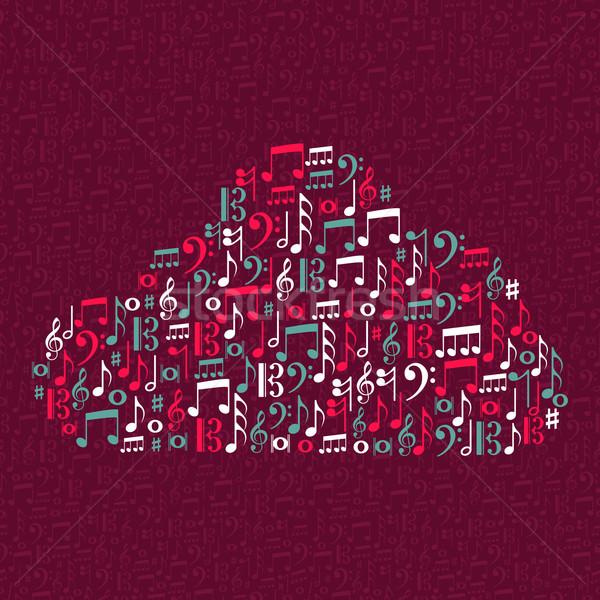 Music notes cloud shape illustration Stock photo © cienpies