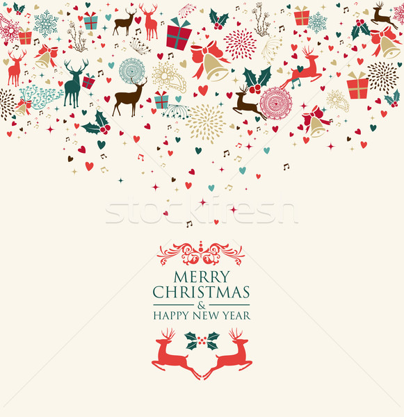 Merry Christmas and Happy New Year greeting card Stock photo © cienpies