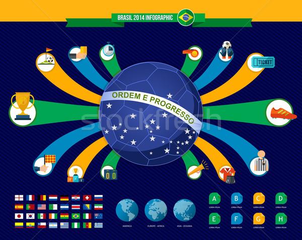 Brasil fútbol campeonato infografía mapa del mundo iconos Foto stock © cienpies