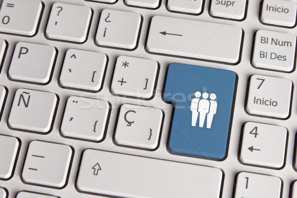 Social media concept, community keyboard key. Stock photo © cienpies