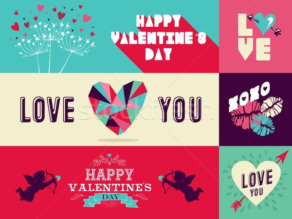 Happy Valentines Day web banner set Stock photo © cienpies