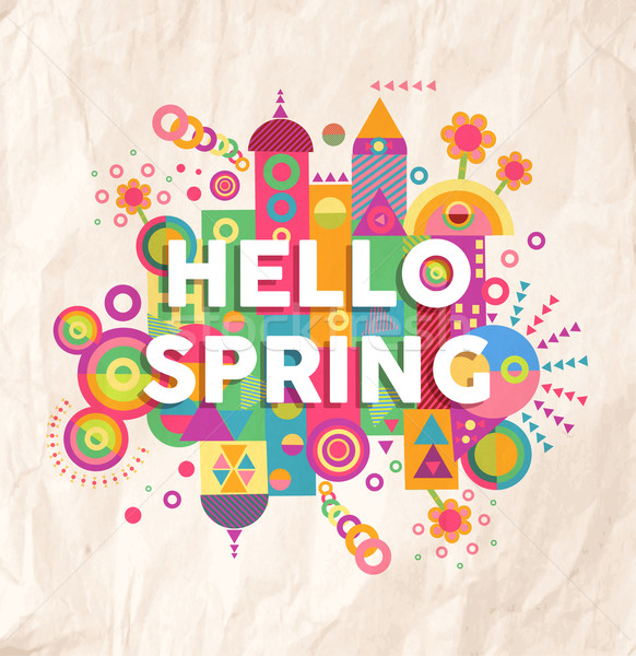 Hello spring quote poster design Stock photo © cienpies