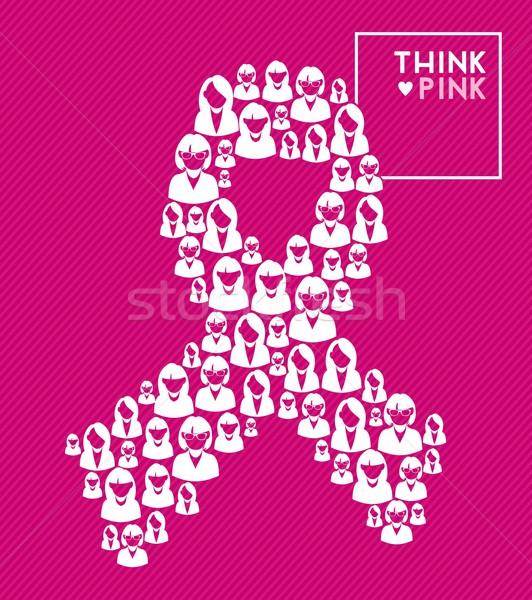 Borstkanker lint vrouwen denk roze vorm Stockfoto © cienpies
