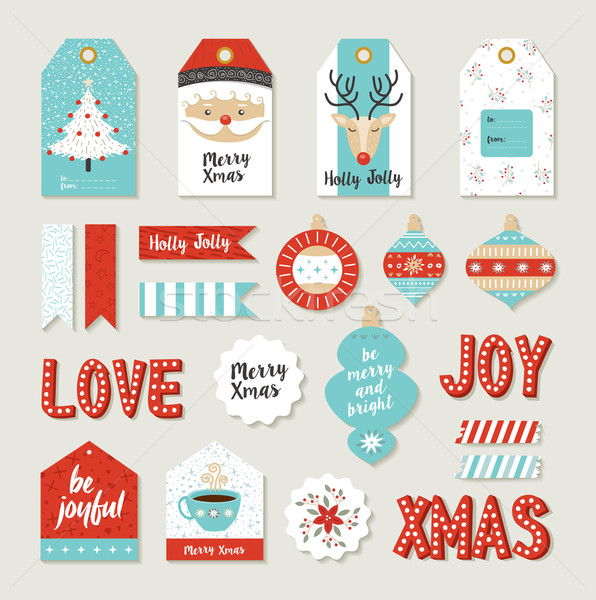 Merry christmas set scrapbook diy printable tags Stock photo © cienpies
