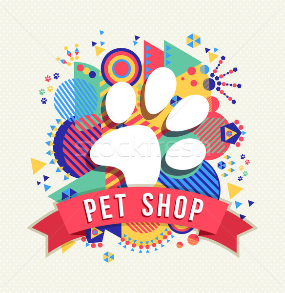 Pet shop icon, animal paw with color shapes Stock photo © cienpies