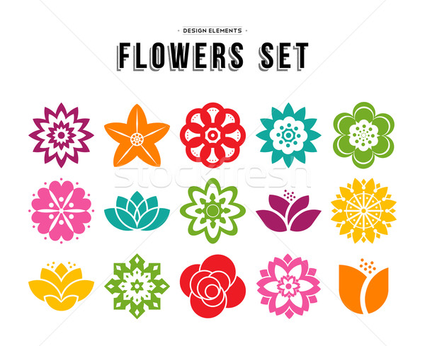 Spring flower icon set with colorful flat designs Stock photo © cienpies