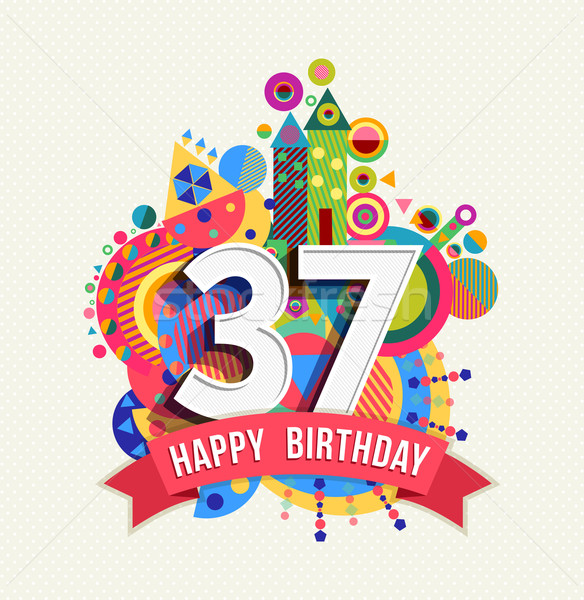 Joyeux anniversaire année carte de vœux affiche couleur trente Photo stock © cienpies