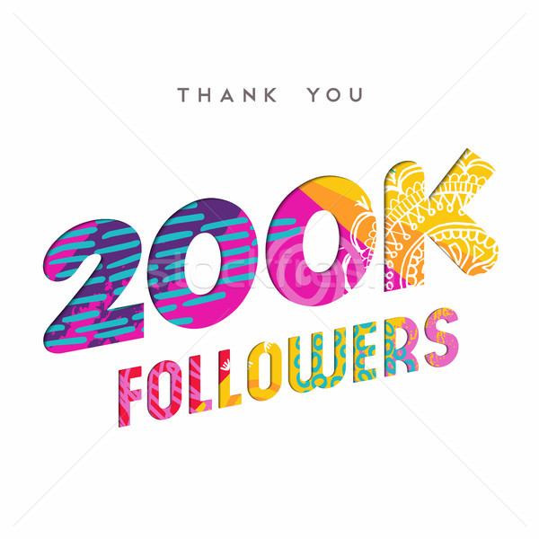 200k internet follower number thank you template Stock photo © cienpies