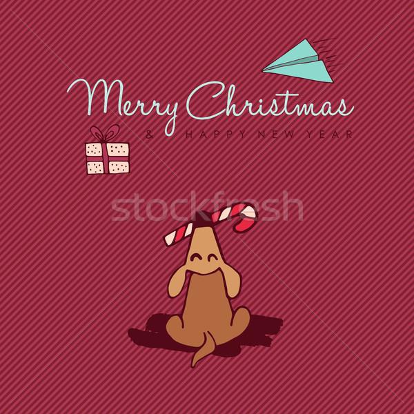 Christmas and new year cute dog cartoon card Stock photo © cienpies