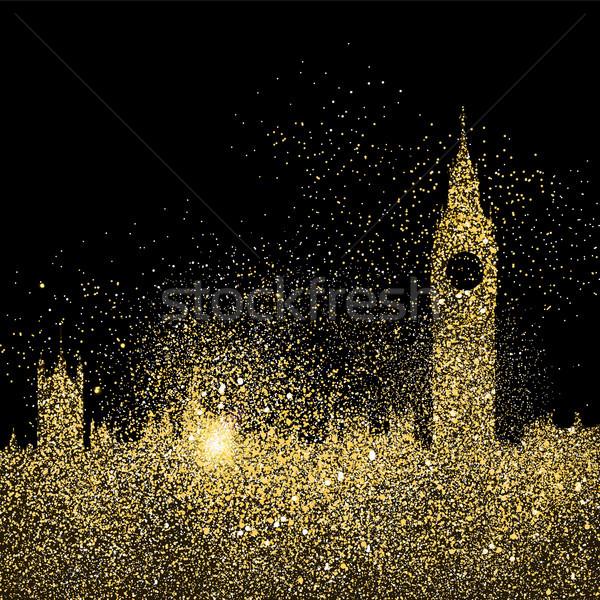 City skyline gold glitter art concept illustration Stock photo © cienpies