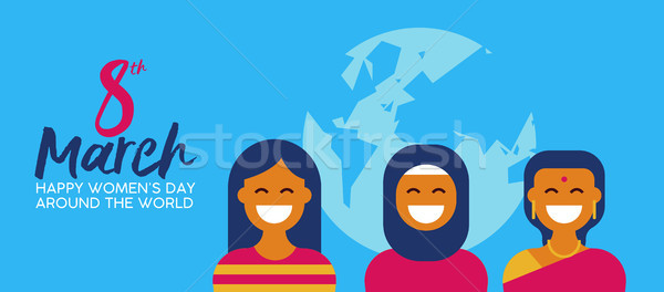 Diverse woman group for happy womens day banner Stock photo © cienpies