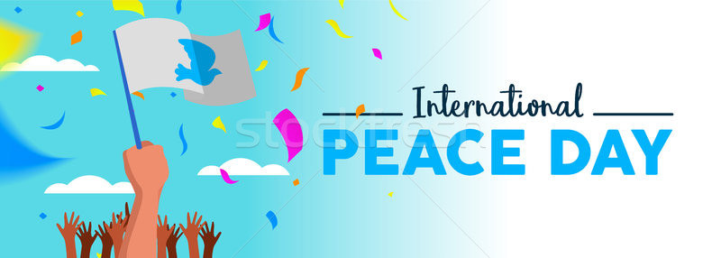 World Peace Day people parade social media banner Stock photo © cienpies