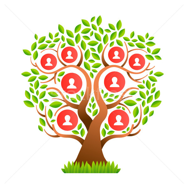 Big family tree template with people icons Stock photo © cienpies