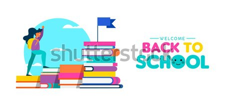 Back to school web banner of children and books Stock photo © cienpies