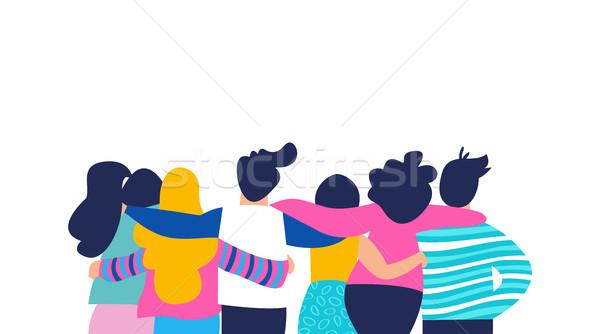 Amico gruppo abbraccio persone isolato Foto d'archivio © cienpies