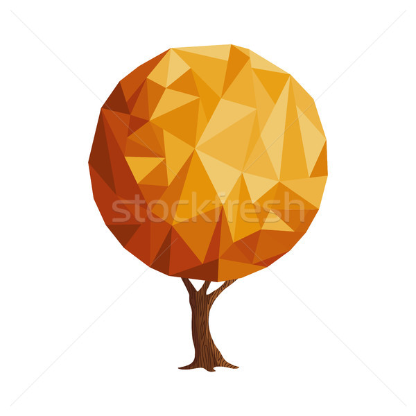 Abstract low poly style gold tree concept Stock photo © cienpies