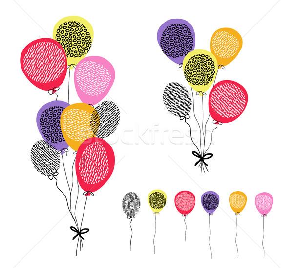 рождения шаров украшение набор весело цветами Сток-фото © cienpies