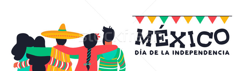 Mexico independence day banner of friends at party Stock photo © cienpies