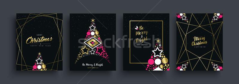 Christmas nieuwjaar goud pijnboom kaart ingesteld Stockfoto © cienpies