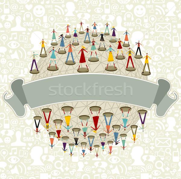 Social media network globe with ribbon Stock photo © cienpies