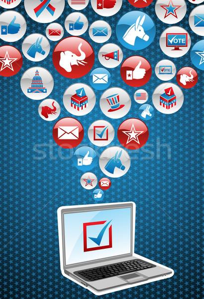 Сток-фото: США · выборы · электронных · голосование · онлайн · ноутбук
