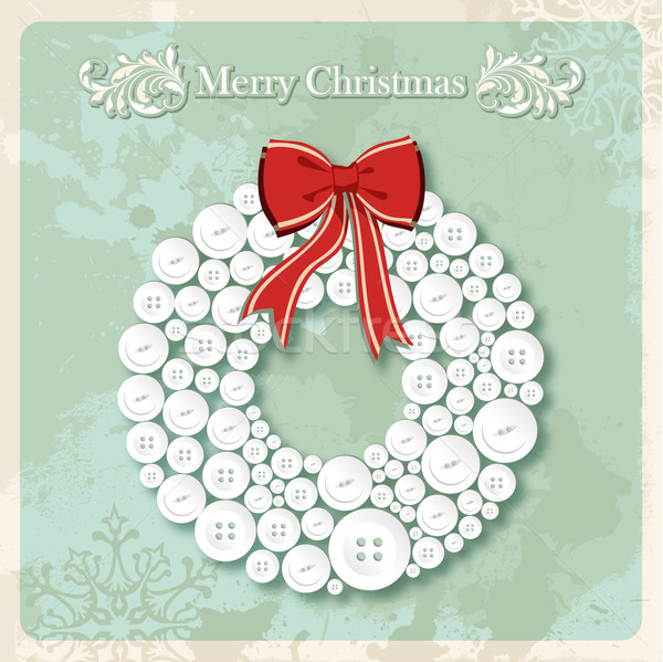 Vintage Merry Christmas wreath buttons postcard Stock photo © cienpies