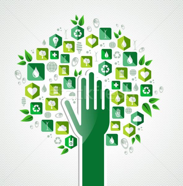 Zdjęcia stock: Eco · zielone · strony · drzewo · ziemi · ochrona