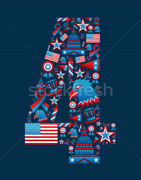 4th of july independence day icons  Stock photo © cienpies