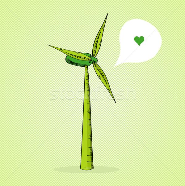 Hand drawn Green Windmill  Stock photo © cienpies