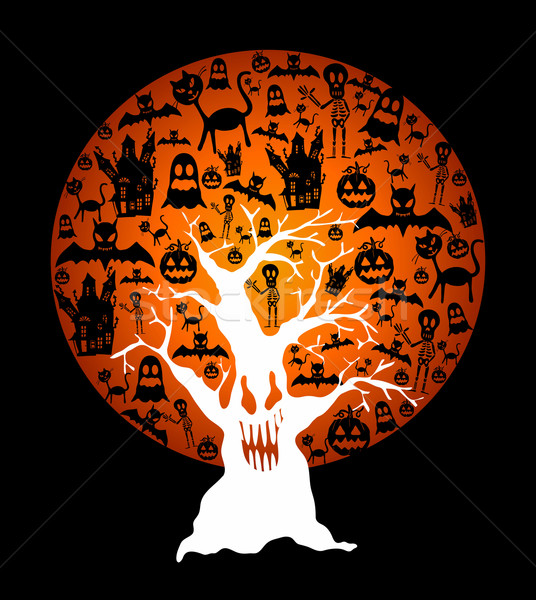 Heureux halloween pleine lune arbre illustration Photo stock © cienpies