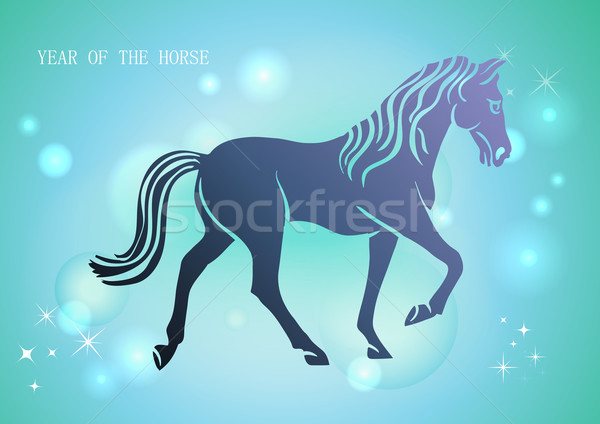 Stock photo: Chinese New Year of horse 2014 blue background