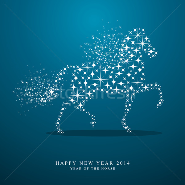 Happy New Year of horse 2014 stars greeting card Stock photo © cienpies