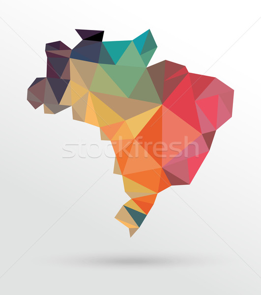 Soyut Brezilya harita renkli eps10 vektör Stok fotoğraf © cienpies