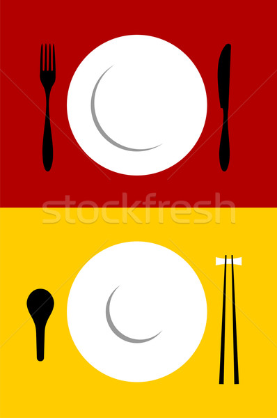Stock photo: Place setting backgrounds on red and yellow