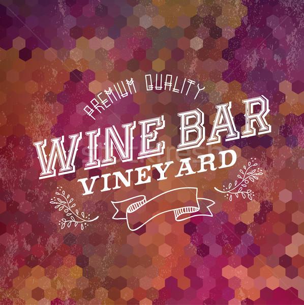 Premium Wine bar vintage label illustration background Stock photo © cienpies