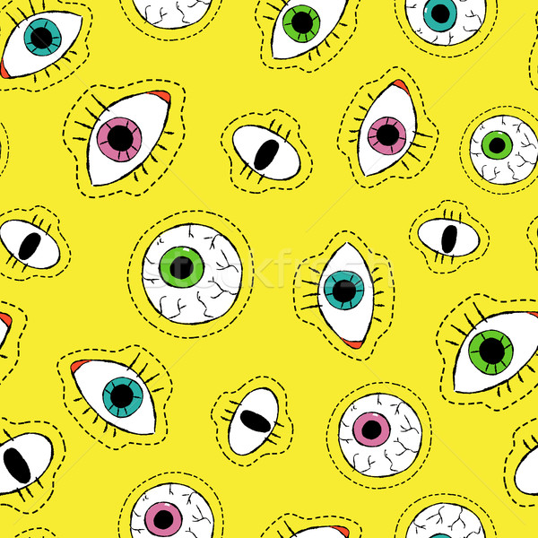 Stock photo: Eye drawing stitch patch icon seamless pattern
