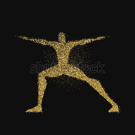 Człowiek sylwetka złota blask pyłu Zdjęcia stock © cienpies