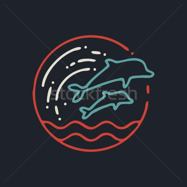 Zomer dolfijn lijn kunst icon retro Stockfoto © cienpies