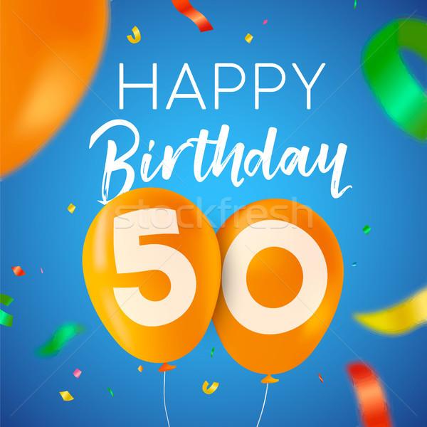 С Днем Рождения 50 пятьдесят год шаре вечеринка Сток-фото © cienpies