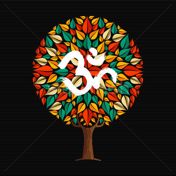 Yoga tree concept with om calligraphy symbol Stock photo © cienpies