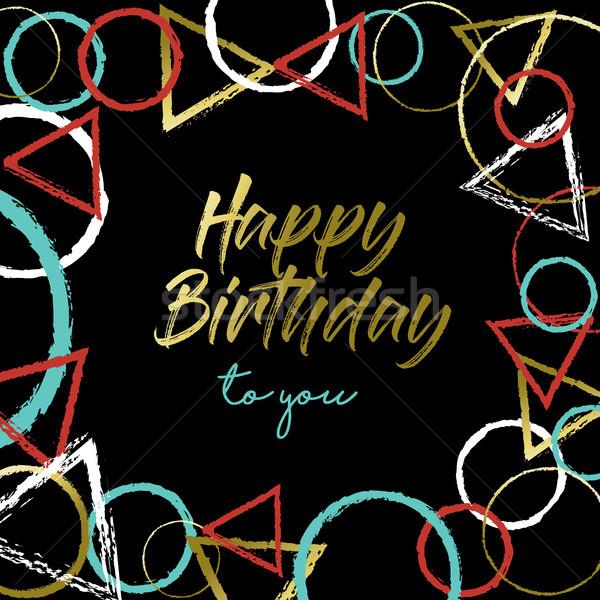Happy Birthday gold abstract art greeting card Stock photo © cienpies