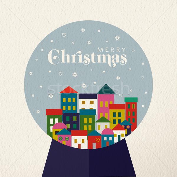 Christmas vintage card of retro holiday snow globe Stock photo © cienpies