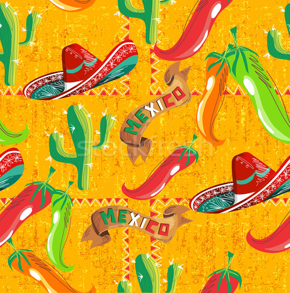 Mexican icônes modèle cactus chapeau illustration Photo stock © cienpies