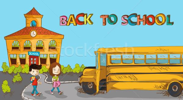 Colorido de volta à escola educação desenho animado edifício ônibus escolar Foto stock © cienpies