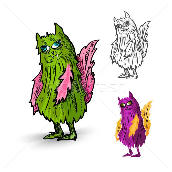 Halloween Monsters spooky isolated creatures set. Stock photo © cienpies