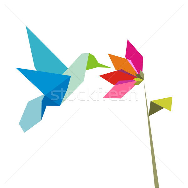 Stock photo: Origami flower and hummingbird on white