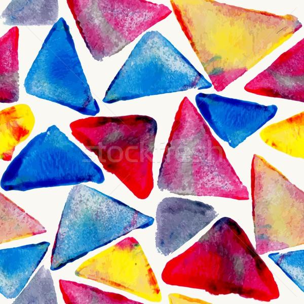 水彩画 三角形 手描き カラフル ファブリック ストックフォト © cienpies